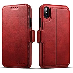 Wallet Phone Case Flip Protective Card Holder Cover Kickstand Folio Cover for iphoneX case red