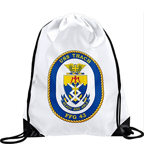 Large Drawstring Bag with US Navy USS Thach (FFG 43), frigate emblem (crest) - Long lasting vibrant image by ExpressItBest
