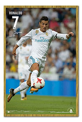 IPosters Real Madrid Ronaldo Saison 2017 2018 Poster Kork-Memo Board mit Rahmen, 96.5 x 66 cm (ca. 38 x 26 Zoll)