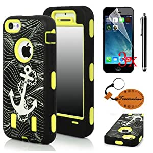 Traitonline 5in1 Yellow Anchor Robot Series Hybrid Phone Case Compatible With iPhone 5c Protector Cover Skin+3*Screen Protector+1*Touch Pen