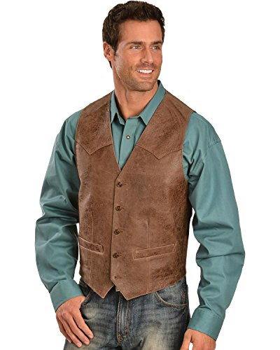 Lamb Vest Brown 44 R (Mens Lambskin Leather Vest)