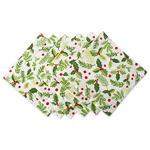 DII Oversized 20x20 Cotton Napkins, Pack of 6, Boughs of Holly - Perfect for Dinner Parties, Christmas, Holidays, or Everyday use Bough Of Holly