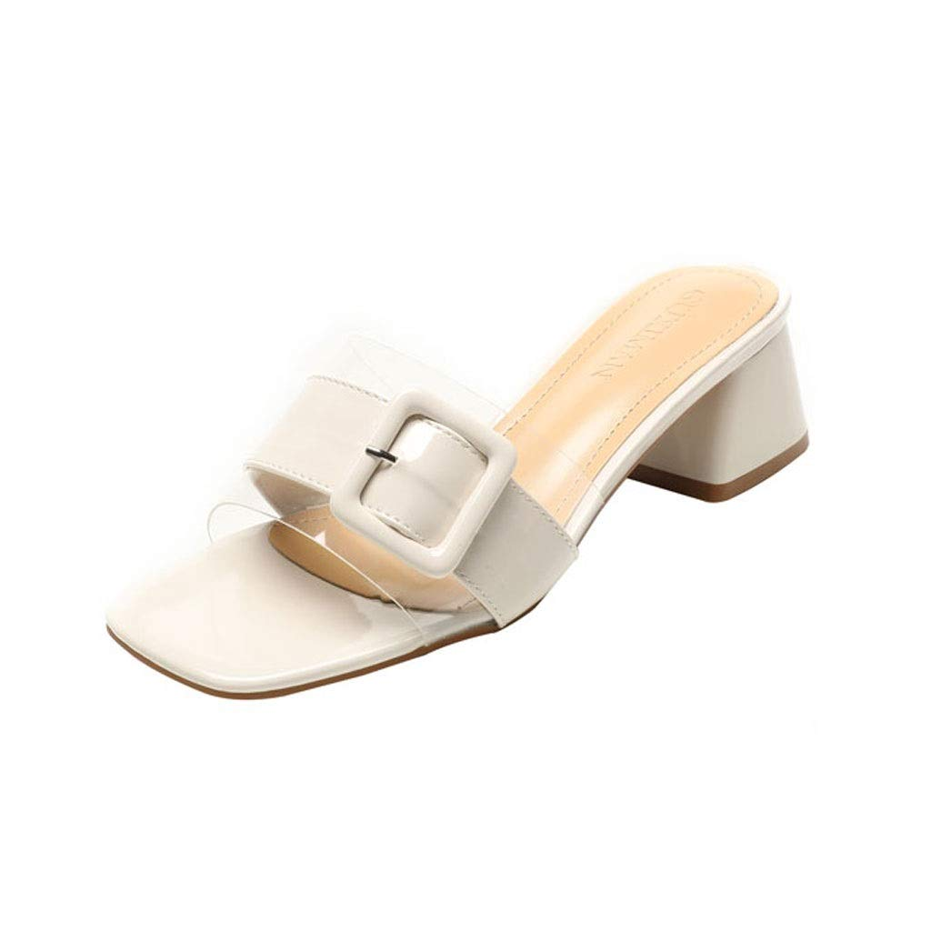 Beige Ailj Summer Women's Fashion Sandals, Transparent Plastic Thick Sandals and Slippers Non-Slip One-Word Drag 2 colors