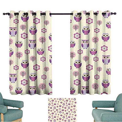 Lilac Gingham Liner - DILITECK Warm Curtain Owls Home Decor Collection Owl Cartoon Pattern Feminine Soft Colors Happy Springtime Decorative Art Light Blocking Drapes with Liner W55 xL39 Lilac Purple Soft Pink
