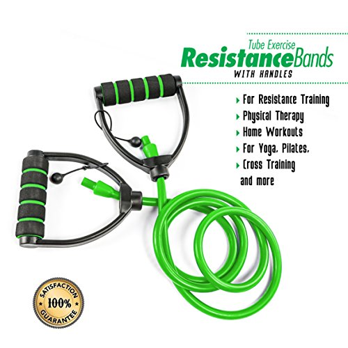 PXT360 Weights Resistance Workout and Exercise Tube Band with Adjustable Handles - Dumbells Set Substitute - D Shaped Handles For Strong Grip - Green, 20-25lbs - For Strength And Flexibility