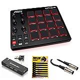 Akai Professional MPD218 MIDI USB Pad Drum Beat Controller + 4 Port USB Hub + MIDI Cable & Pack of...