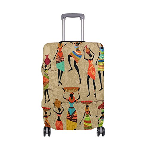 YZGO African Woman With Vase On Grunge Painting Luggage Cover Spandex Travel Suitcase Protective Cover 26-28 Inch ()