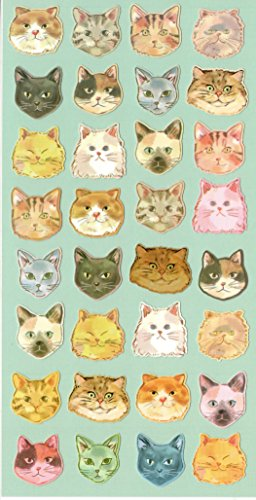 Colorful Cat Kitty Kitten Stylish Head Craft Scrapbooking Sticker Set for Diary, Album