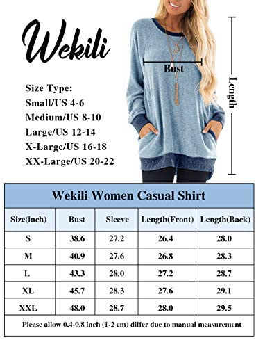 WEKILI Women's Color Block Long Sleeve Tunic Tops Crew Neck Sweatshirt Pockets Loose Casual Blouse Shirts