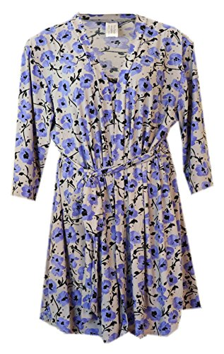 Delta Burke Blue Floral Chemise Nightgown and Robe Set (2 Fits 16W/18, Grey with Blue ()
