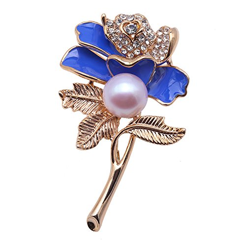- JYX Charming Blue Rose Freshwater Brooches Pins Bouquet Wedding Jewelry