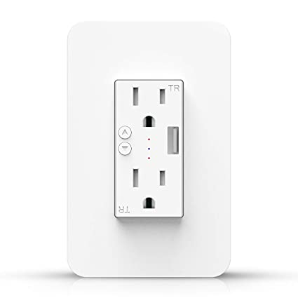 Smart WiFi Wall Outlet Plug, WiFi Wall Socket Duplex Receptacle, 15 Amp  with 2 Independent Control, Compatible with Amazon Alexa and Google Home