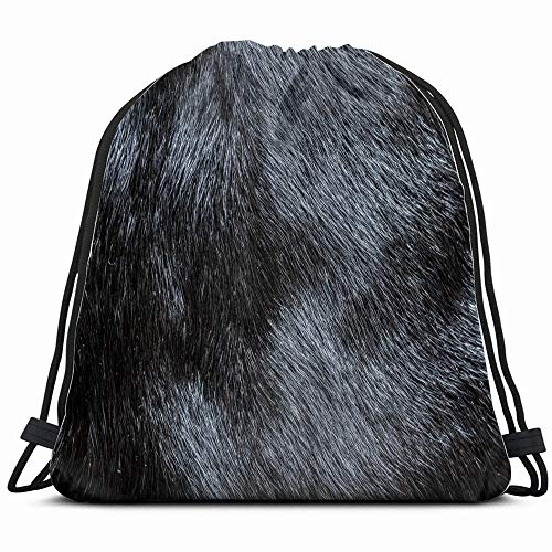 Fur Beauty Fashion Drawstring Backpack Sports Gym Bag For Women Men Children Large Size With Zipper And Water Bottle Mesh ()