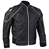 ILM Motorcycle Jackets, Carbon Fiber Armor Shoulder, Moto Jacket for Men and Women (S, BLACK)
