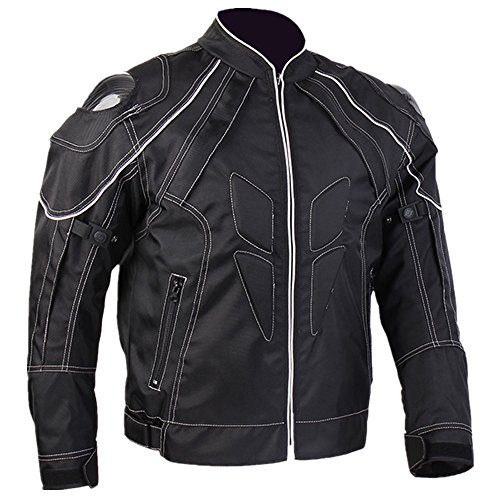 ILM Motorcycle Jackets, Carbon Fiber Armor Shoulder, Moto Jacket for Men and Women (L, BLACK)