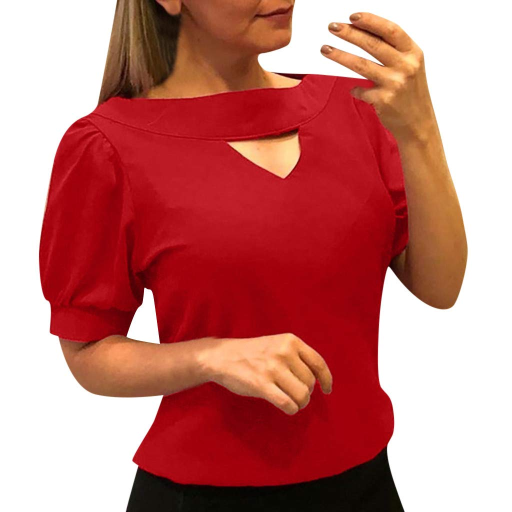 9fa3ffe99ad5 Amazon.com: Fainosmny Womens Solid Shirts Summer Tunic Tops Pure Color Blouse  Ladies Sexy Hollow Tees Short Sleeve T Shirt Casual Blouse: Clothing