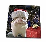 3dRose Sandy Mertens Christmas Animals - Santa Hat Piggy Bank, Christmas Tree, Blue Ornaments, Red Gift Photo - Memory Book 12 x 12 inch (db_269550_2)