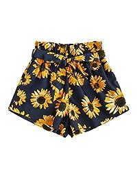 Milumia - Pantalones Cortos de Cintura elástica para Mujer con Ribete y Bolsillo