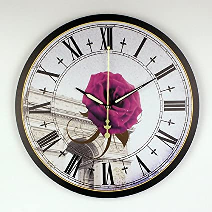 Kamas Home Decoration Large Wall Clocks Silent Wall Clock Vintage Home Decor Fashion Big Flowers Wall