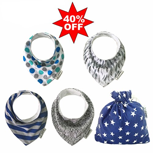 SALE 40% OFF - Baby Bandana Drool Bibs For Boys And Girls, Great For Traveling and Camping with Kids - 4 Pack Gift Set, Absorbent Cotton, 2 Clip Adjustable Snaps, Soft & Comfortable.