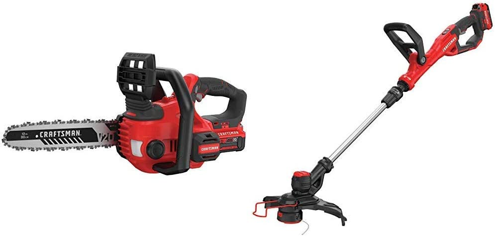 CRAFTSMAN CMCCS620M1 V20 12 Cordless Compact Chainsaw with CMCST900D1 V20 Cordless WEEDWACKER String Trimmer Edger – Automatic Line Advance Feed