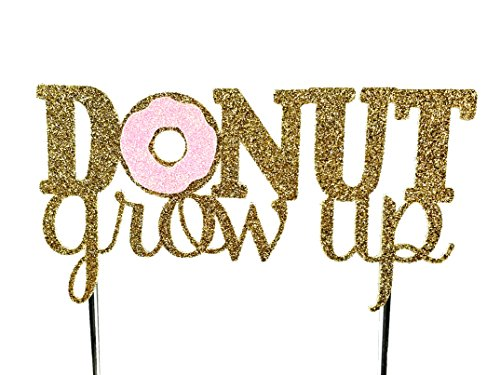 CMS Design Studio Handmade Donut Birthday Cake Topper Decoration - Donut Grow up - Made in USA with Double Sided Gold Pink Glitter Stock (Pink)