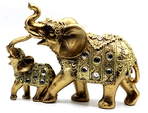 (Feng Shui Mama and Baby Elephant Collectible Statue, Lucky Figurines Perfect for Home Decor Office Xmas Decorations- by Crystal Collection)
