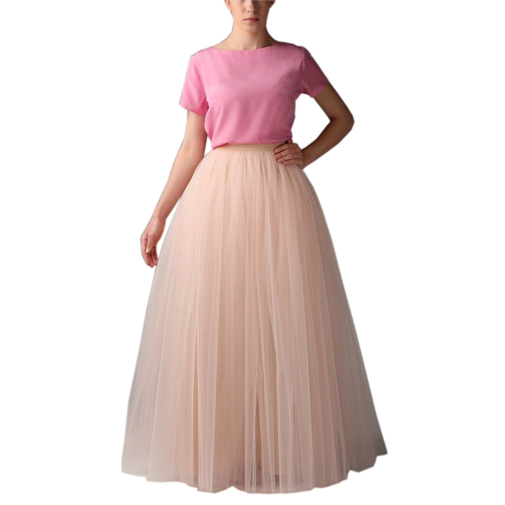 Lisong Floor Length Layered Tulle A-Line Tutu Party Skirt For Women 26W US Champagne by Lisong
