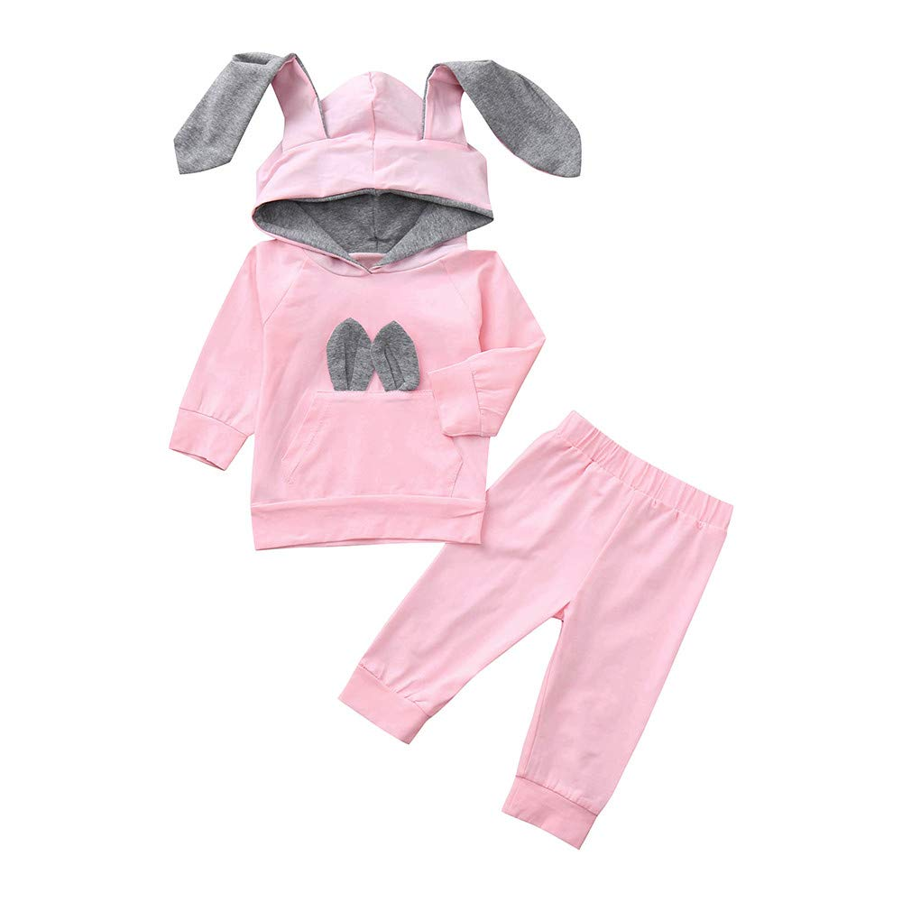 Dream/_mimi Lovely Baby Long Sleeve Rabbit Ear Hooded Top+Solid Color Pants Set