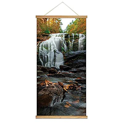 Hanging Poster with Wood Frames Cascading Waterfall in...
