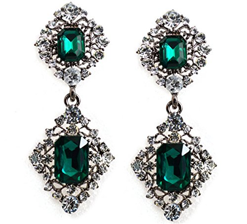 Green Beads Chandelier Earrings (P.phoebus 18K Yellow Gold Vintage Green Crystal Rhinestone Swarovski Pendant Charms Earrings Bangle For Women Girls)