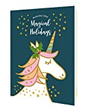 Night Owl Paper Goods Magical Unicorn Folded Holiday Cards, Box of 10