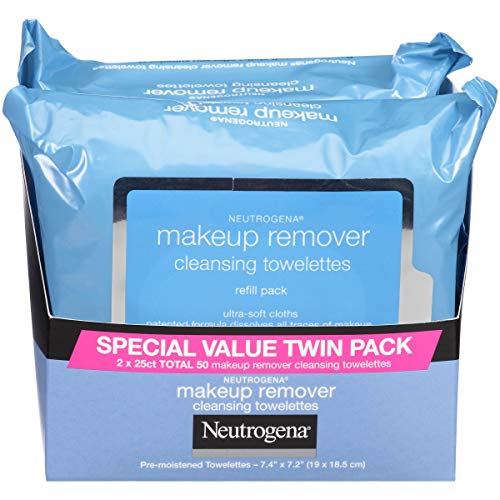Neutrogena Makeup Remover Cleansing Towelettes, Daily Cleansing Face Wipes to Remove Waterproof Makeup and Mascara, Alcohol-Free, Value Twin Pack, 25 count, 2 Pack from Neutrogena