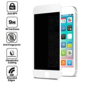 """for Apple iPhone 7 4.7"""" Screen Protector Privacy Anti-Spy , Anti Spy 9H Tempered Glass, 3D Rounded Edge Full Cover Screen Protector (White) by Shangda"""