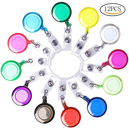Wode Shop 12 Pieces Retractable Id Badge Holder, Retractable Badge Reels For ID Card(Colorful)