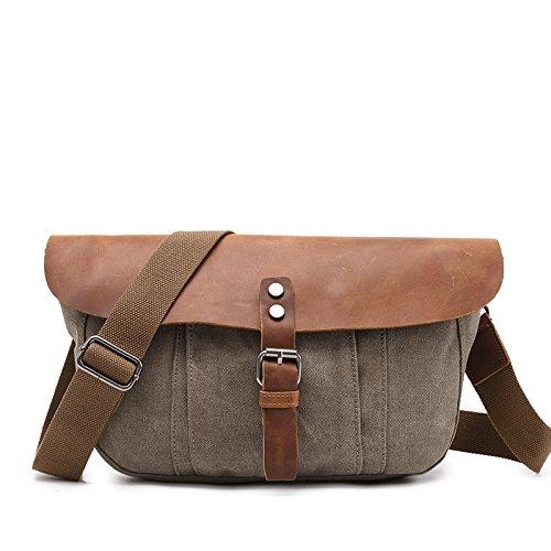 mefly Bolsa de lona la nueva Verano llevar Hombres individuales grandes bolso retro xiekua del paquete, Light card marrón