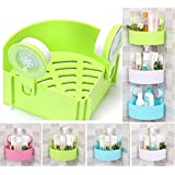 Skyfish Plastic Inter Design Bathroom Kitchen Storage Organize Shelf Rack Triangle Shower Corner Caddy Basket With Wall Mounted Suction Cup 1 Pc