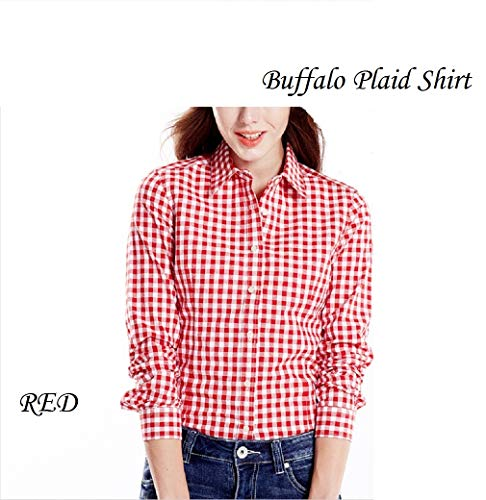 (MingHaoyu Women's Gingham Buffalo Plaid Shirt Cotton Red and White Casual Blouse,X-Large,Red)