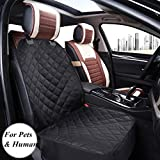 Amzdeal Dog Car Seat Covers Waterproof Front Single Car Seat Cover, Nonslip Rubber Backing with Anchors, Fits Universal Cars, Trucks & SUVs Including Toyota, Kia, VW, Hyundai, etc. Black