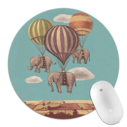 Super Mouse Hot Pad (Mouse Pad Cute Funny Elephant Flying with Hot Air Balloon Mousepad Round Non-Slip Rubber Mousepad Mat Computers Laptop (Elephant 1-3))