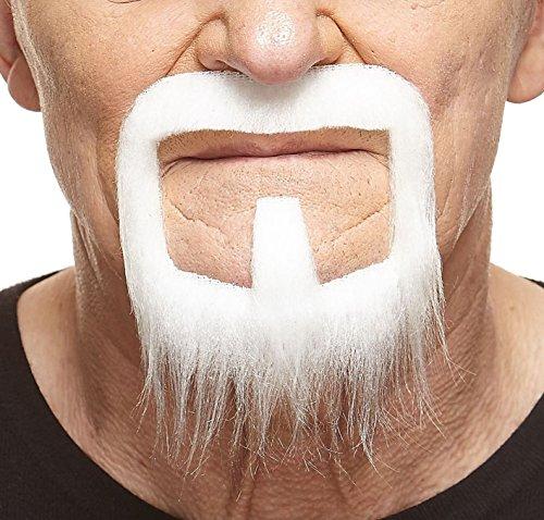 Long Van Dyke white fake beard, self adhesive (White Van Halloween Costume)