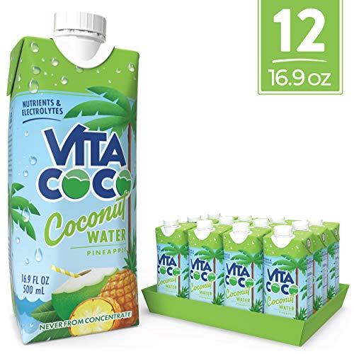 Vita Coco Coconut Water, Pineapple - Naturally Hydrating Electrolyte Drink - Smart Alternative to Coffee, Soda, and Sports Drinks - Gluten Free - 16.9 Ounce (Pack of 12) (Milk Carton Opening)