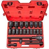 TEKTON 48995 3/4 in. Drive Deep Impact Socket Set, 7/8 - 2-Inch, Inch, Cr-Mo, 22-Piece