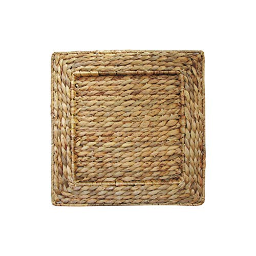 ChargeIt by Jay 1660161-4 Water Hyacinth Set of 4 Square Rattan Charger Plates 13.7x13.7