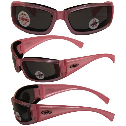 Fight Back Cancer Pearlescent Pink Women Smoked Motorcycle Glasses Sunglasses]()