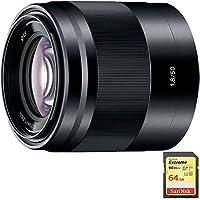 Sony 50mm f/1.8 Mid-Range Prime E-Mount Lens Black (SEL50F18/B) with Sandisk 64GB Extreme SD Memory UHS-I Card