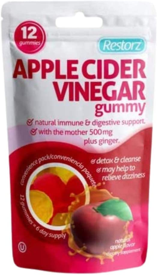 Restorz Apple Cider Vinegar Gummies with The Mother, B12 and B9 Natural Antioxidant Boosts Energy Aids Digestion & Weight Loss 8 Pouches 14 Gummies per Pouch