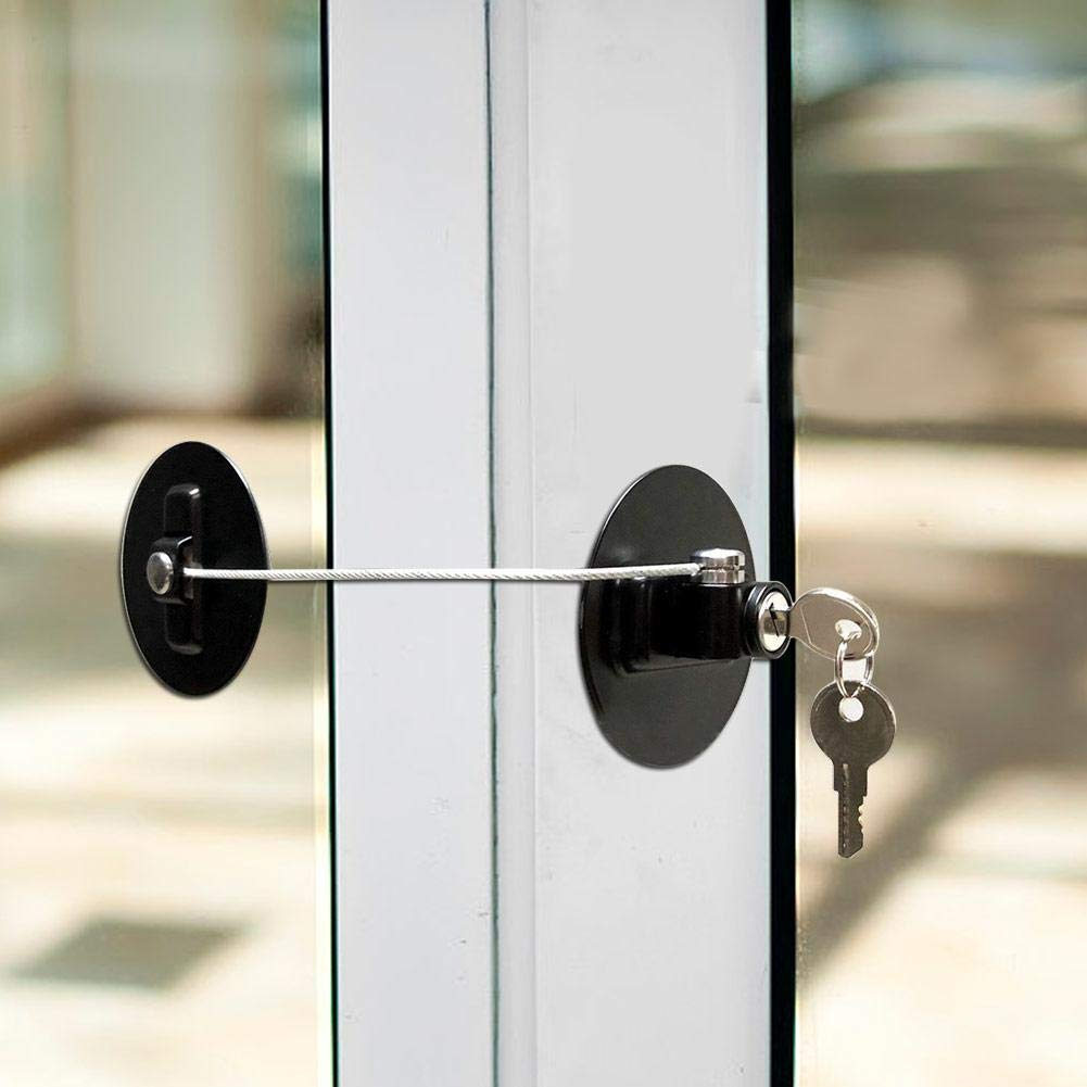 Child Safety Lock,Childrens Window Refrigerator Safety Limit Lock Suitable For Door Fridge Trash With Stainless Steel Keys Closet Refrigerator Drawer