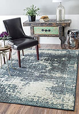 Traditional Vintage Inspired Overdyed Distressed Fancy Blue Area Rugs