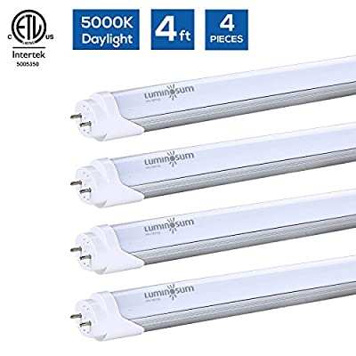 LUMINOSUM T8/T10/T12 LED 4FT Light Tube 20W (40W equivalent) Frosted Cover, ETL Listed, 5000K, 2000 lumens, Dual-End Powered, Easy Ballast Removal Installation, 4-pack